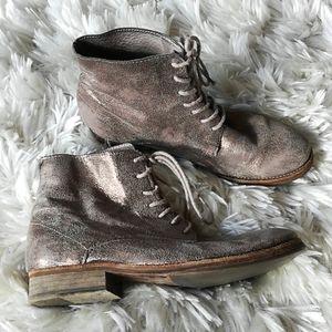 All Saints Gold Leather Spitalfield Boots Sz 37
